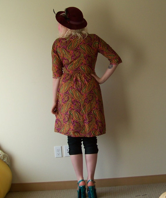 60s/70s Bright Psychedelic Paisley Wrap Dress by … - image 3