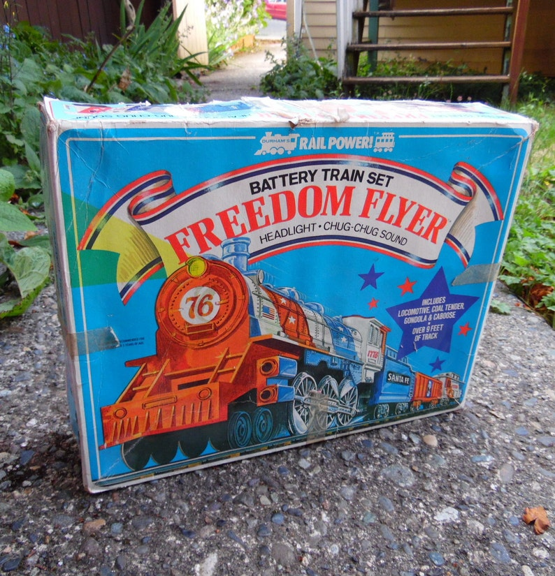 1975 Fourth of July Freedom Flyer Dunham Battery Operated Train Set Party Barbeque Centerpiece Vintage Toy