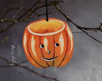 Halloween pumpkin hanging decoration, double sided. Made from laser cut wood. Vintage pumpkin