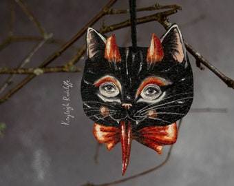 Devil cat Halloween hanging ornament, vintage style. Made from wood, plastic free