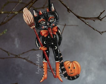 Devil cat Halloween hanging ornament, made from wood. Damien the black cat