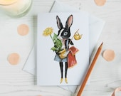 Milly the Dutch black and white rabbit blank note card. Greeting card for a new home, Birthday, Mothers day, Easter, Good luck.