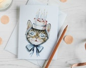 Pepper the tabby cat with a Birthday cake hat Birthday card. Blank note card. Birthday card for a cat lover, card for him or her. Vintage