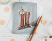 Puss in Boots illustrated blank note card. Ginger tom cat. Vintage style. Birthday card/ thank you card/ mothers day card/ any occasion