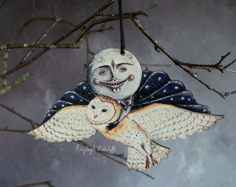 Wooden hanging ornament of a full moon with a flying barn owl. Herman moon. Vintage style Halloween ornament