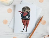 Herbert hedgehog with a red spotted toadstool greeting note card. Blank inside. British wildlife, card for an animal lover, birthday card