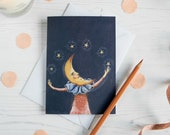 James the moon man blank note card. Birthday/ congratulations card/ miscellaneous card. Celestial, crescent moon, moon art, illustration