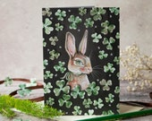 Bunny rabbit with shamrocks greeting note card. St Patrick's day card, Irish Birthday card, card for an Irish relative. Vintage style design