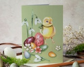 Easter chick note card. Happy Easter card. Vintage Easter. Card for him, card for her. Unisex Easter card. Yellow chick for Easter