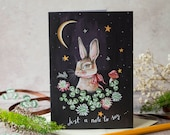 Just a note to say greeting card. Rabbit card, bunny greeting card. Rabbit Birthday card. Any occasion card. Unisex card. Magical artwork