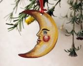 Wooden crescent moon man hanging decoration. Celestial, moon decor, moon Christmas tree ornament, moon hanging decoration, nursery decor