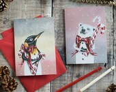Pack of 4 Christmas greeting note cards. Harvey the penguin and Teddy the polar bear. Blank inside. Christmas cards for animal lovers