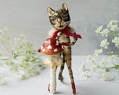 James the Scottish wildcat, a limited edition miniature art doll. Red spotted toadstool. Spun cotton figurine. Mixed media textile art.