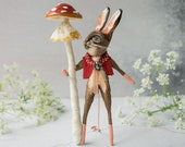 Tom the hare, a limited edition miniature art doll. Forest. Spotted mushroom. Hare sculpture/ spun cotton figurine/ ceramic mixed media art