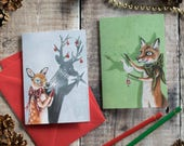 Pack of 4 seasonal holiday cards. Holly the roe deer and Rudy the red fox. Christmas cards for an animal lover. Whimsical and magical Xmas