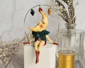 William the crescent moon man, a limited edition miniature art doll figurine. Moon art, vintage style, nursery decor, man in the moon.