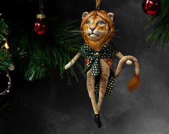 Leonard the lion man luxury Christmas hanging ornament. Heirloom. All year round ornament made from ceramic and cotton. Gift for a loved one