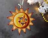 Sun hanging ornament. Made from wood. Sunshine, sun Christmas decoration, sun Christmas tree ornament. All year round decoration.