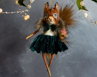 Penelope squirrel with a golden acorn Christmas tree ornament. Ceramic decoration/ woodland animal/ squirrel decoration/ Christmas heirloom