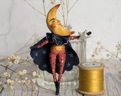 Clark the moon man, a limited edition miniature art doll ornament/ hanging decoration. Celestial art, crescent moon, vintage style.