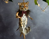 Cecil the leopard with a golden moon. Heirloom Christmas tree ornament. Mixed media art doll, handcrafted in the UK. Anthropomorphic animal