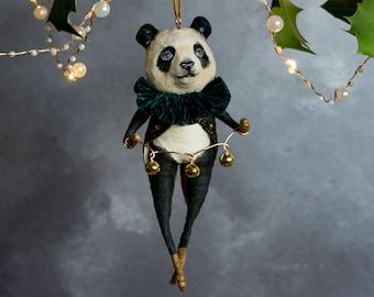 Pip the giant panda, a festive hanging decoration. Art doll/ heirloom ornament/ Christmas tree decoration/ bear gift/ mantel decoration