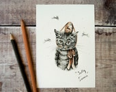 Sulky Simon the sulking cat Easter print. Cat drawing archival art print, A6/ A5/ A4/ 4x5 5x8. Print for a cat lover. Gallery quality print