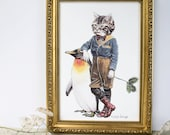Tabby cat seasonal winter print. Edwardian in style. Featuring a penguin and winter holly. Art for cat lovers. Christmas gift for loved one