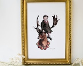 Little Victorian boy sat perched on stag antlers deer bust. Seasonal artwork. Autumn print. Winter art. Vintage inspired