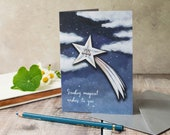 A6 greeting card of David the starman shooting star. Birthday card for him, card for her. Celestial note card.