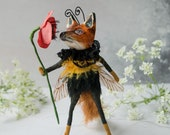 Simon the bumble bee fox, a limited edition handmade miniature art doll ornament, with a wild red poppy. Fox lover gift. Textile sculpture