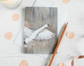 Sydney the flying swan illustrated blank note greeting card. Engagement/ wedding/ mothers day/ Birthday/ thank you card. Romantic card