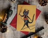 The Christmas Krampus illustrated Christmas card. Christmas folklore. Krampus cat. Dark Christmas, gothic Christmas, Devil. Blank inside.