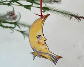 Crescent moon with a shooting star wooden hanging ornament. Moon decoration. Celestial, pagan, Wicca, astronomy. Man in the moon