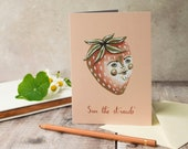 Sam the strawberry greeting note card. A6. Blank card. Vintage style illustration. Strawberry card