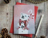 Teddy the polar bear Christmas card. Vintage style/ illustrated/ bear Christmas card/ arctic/ polar bear stationary/ winter polar bear/ snow