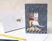 The owl and the pussycat blank note card. Starry night and sea. Birthday/ romantic/ anniversary/ congratulations/ wedding card. Unisex card