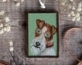 Original miniature painting of a fox terrier dog in a handmade glass frame. Christmas decoration, home decor, miniature wall art