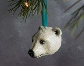 Handmade clay Polar bear luxury Christmas bauble. Arctic animal/ White Christmas/ Christmas gift/ Christmas heirloom. Made in the UK