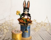 Violet the black and white rabbit, a limited edition miniature art doll figurine. Folk girl, vintage style, gift for a rabbit lover.
