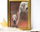 Edwardian vintage circus Lion tamer/ circus master and Elephant artwork illustration print. Home decor. Gift for animal lovers
