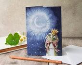A6 greeting card of Hartley the frog. Blank note card. Frog prince. Card for him, card for her. Birthday card, anniversary card