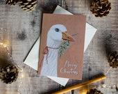 White goose Christmas note card. Vintage Christmas. Seasonal card. Blank inside. Card for a bird lover