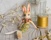 Rose the mermaid rabbit, a limited edition miniature art doll ornament. Mystical, whimsical, vintage style. Nursery decor, cabinet of curios