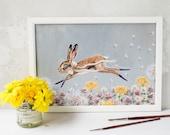 A4 landscape unframed print of Clover the hare/ rabbit running through a wild meadow. Wall art/ bedroom art/ nursery print/ kitchen print