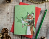 Rudy the red fox with a goose seasonal greeting card. Christmas card/ blank note card/ enchanting/ card for a fox lover.