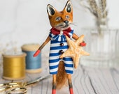 Spencer the fox, a limited edition miniature art doll figurine. Vintage style, summertime. seaside, starfish. Special gift for a loved one.