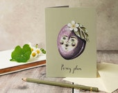 Percy plum greeting card, A6. Note card, blank inside. Fruit card. Card for any occasion.
