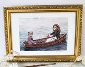 Unframed illustration print of a lion and cheetah sailing in a boat. Vintage style/ anthropomorphic animals/ nautical art/ zoo animals. A4