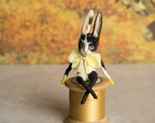 Vince the black and white rabbit ornament. Miniature art doll/ doll house figure. Collectors piece. Gift for a rabbit lover. Made to order.